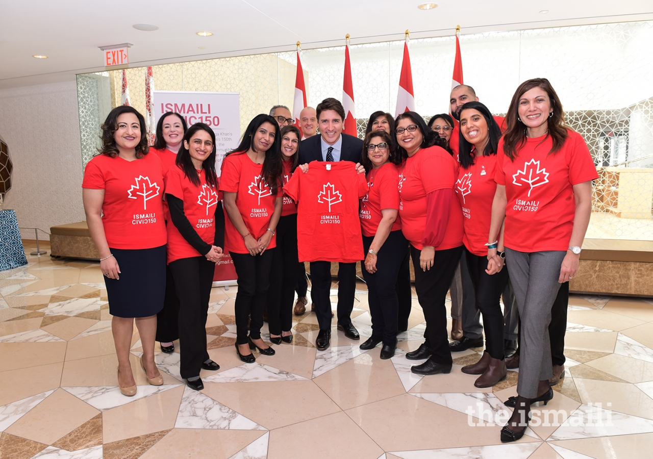 Prime Minister Trudeau with members of the Ismaili CIVIC 150 team