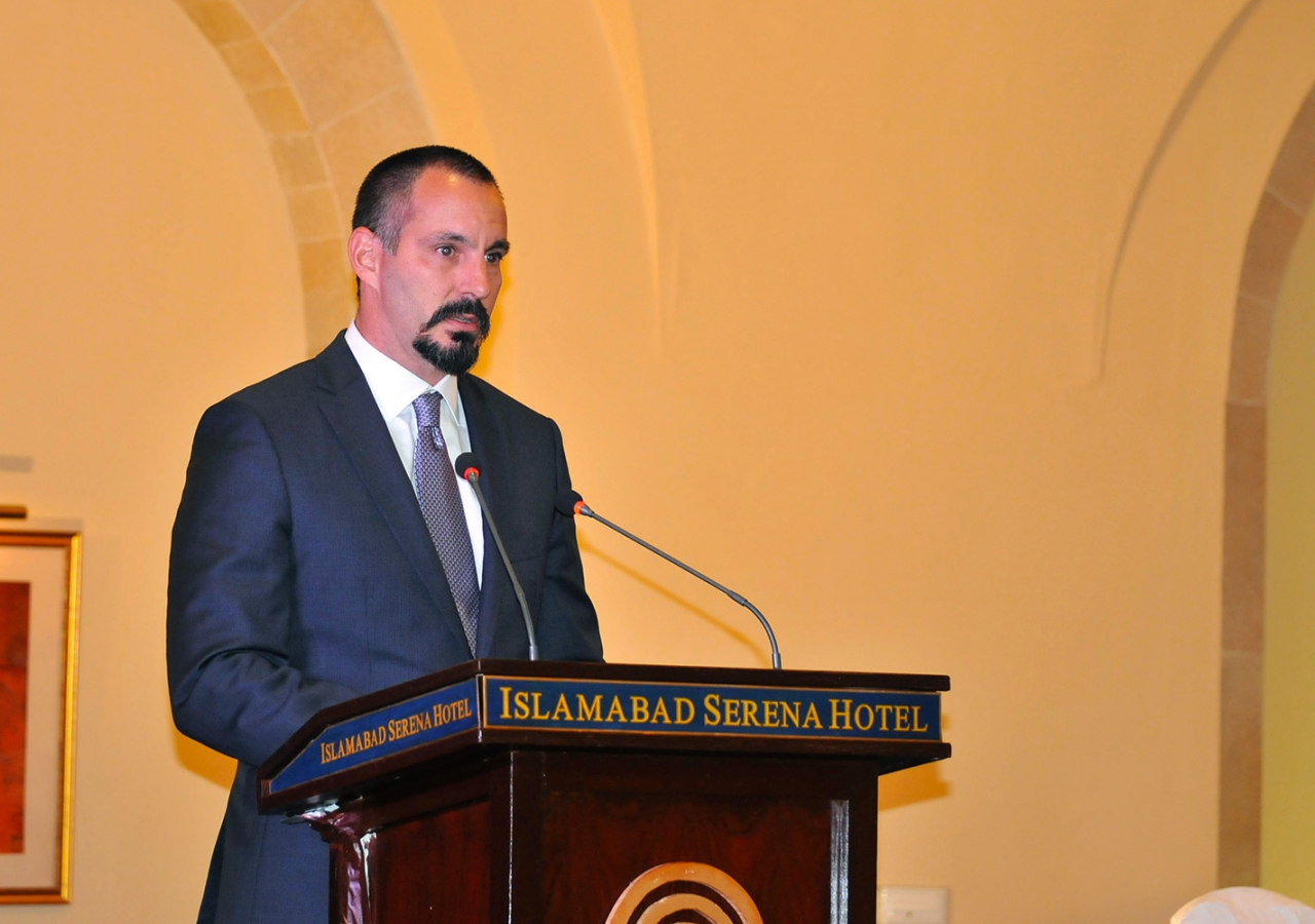 Prince Rahim speaking at the institutional dinner organized by the Ismaili Council for Pakistan. Al-Jalil Ajani