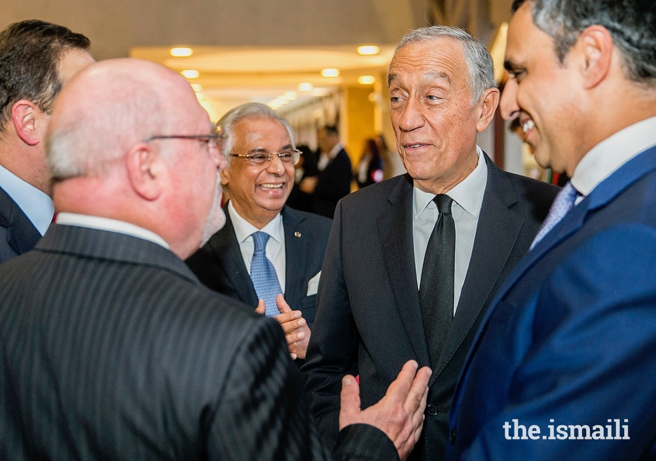 Nazim Ahmad and the President of Portugal Marcelo Rebelo de Sousa, President of the Ismaili Council for Portugal Rahim Firozali, Minister of Agriculture, Forests and Rural Development Luís Capoulas dos Santos, and the Mayor of Lisbon Fernando Medina.