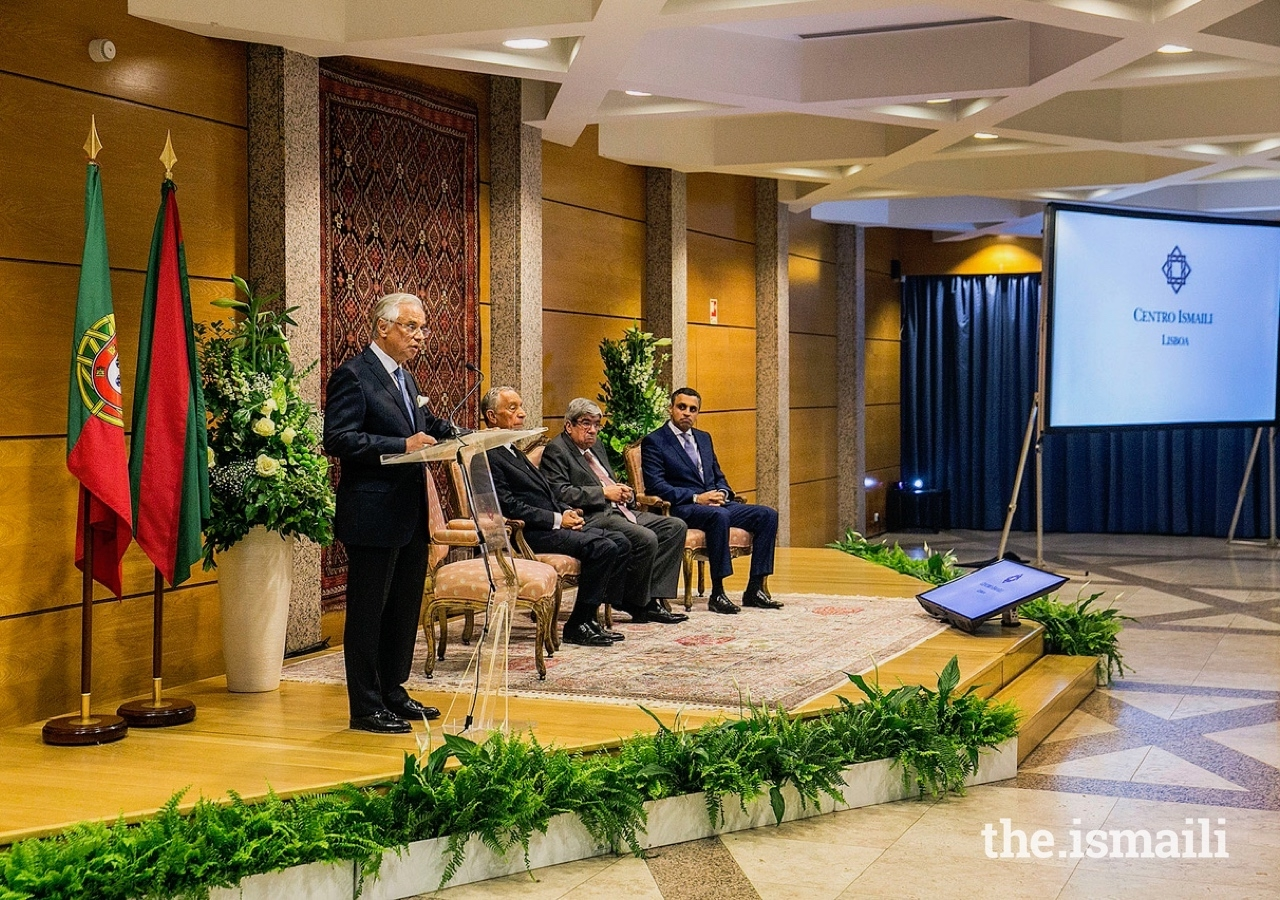 Diplomatic Representative of the Ismaili Imamat to the Portuguese Republic, Nazim Ahmad, delivers remarks to guests gathered at an event to commemorate the 20th anniversary of the Ismaili Centre Lisbon.