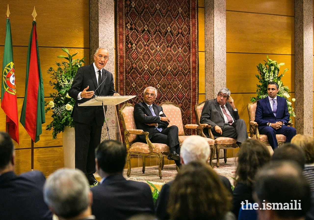 President of the Portuguese Republic, Marcelo Rebelo de Sousa, delivers remarks to guests gathered at an event to commemorate the 20th anniversary of the Ismaili Centre Lisbon.