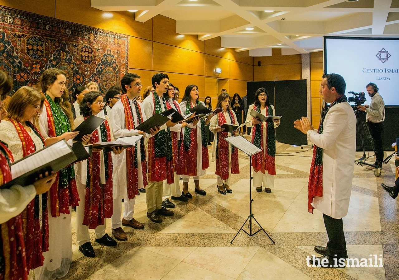 The Portuguese Ismaili Choir performing for guests at the Ismaili Centre Lisbon.