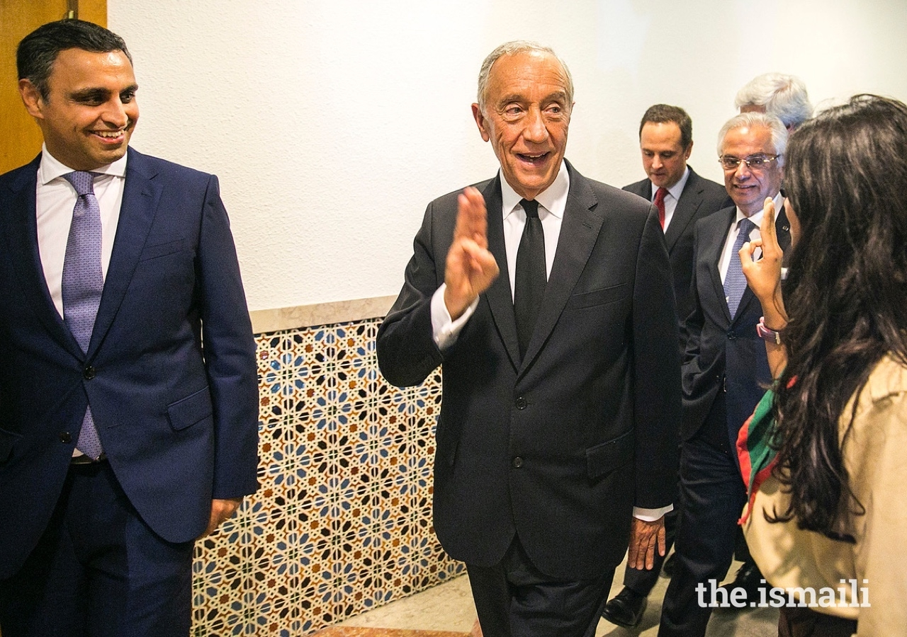 President of the Portuguese Republic, Marcelo Rebelo de Sousa, greets the Aga Khan Scouts at the Ismaili Centre Lisbon.