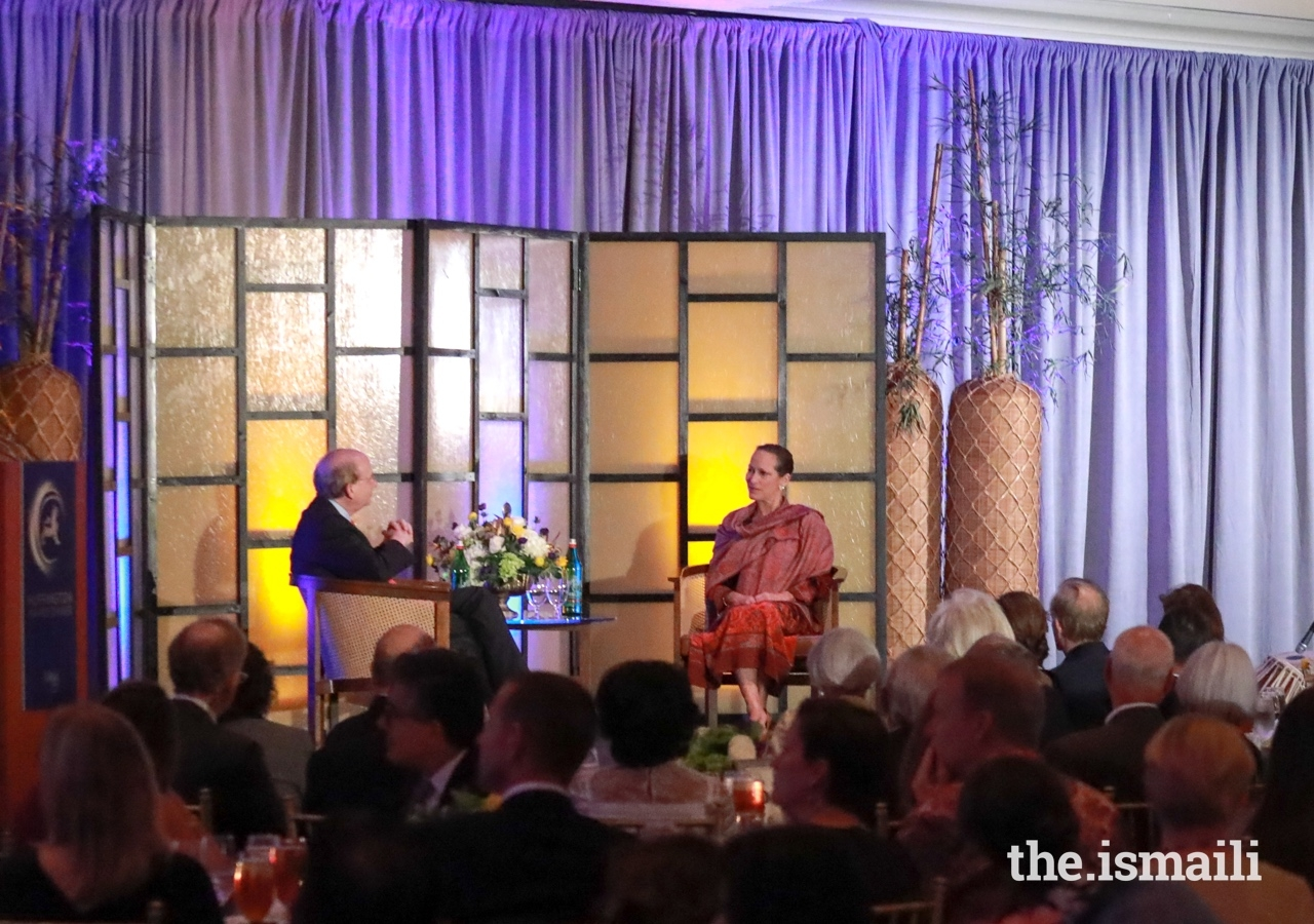 David W. Leebron, President of Rice University, engages in an on-stage conversation with Princess Zahra at the Asia Society Award Dinner.