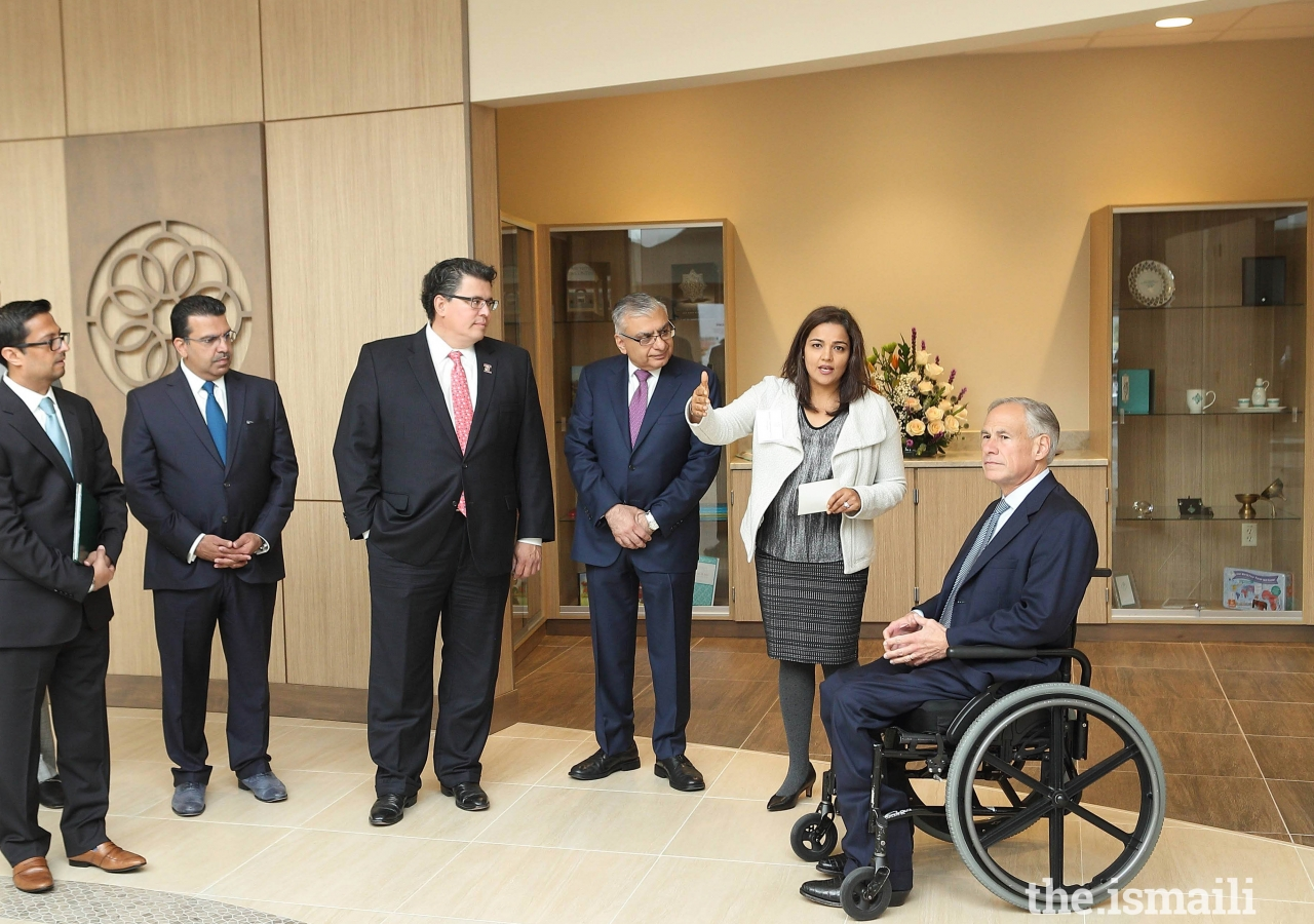 Prior to the opening ceremony, Governor Greg Abbott was given a tour of the Jamatkhana and the Ethics in Action exhibition.