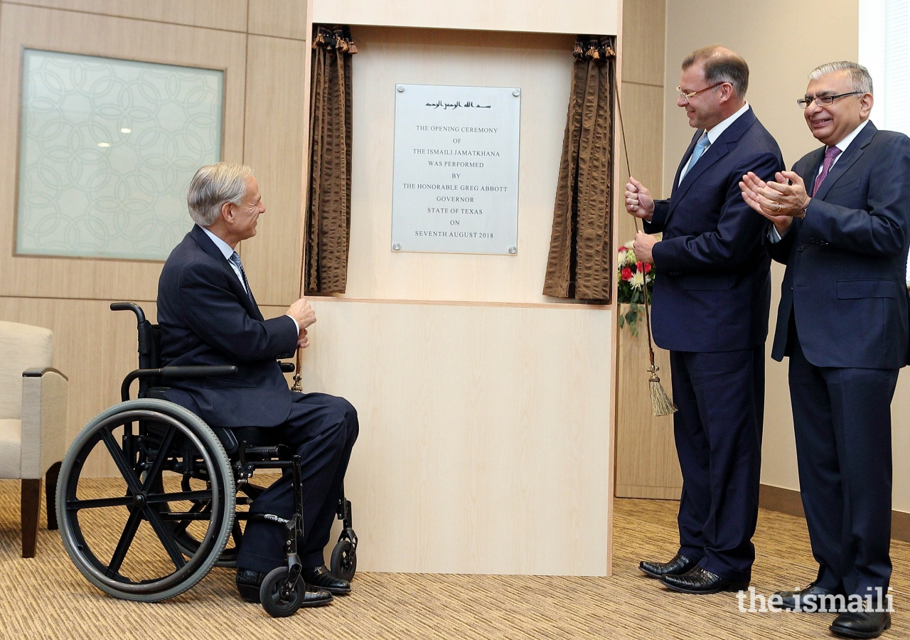 State of Texas Governor Greg Abbott, Cedar Park Mayor Corbin Van Arsdale, and President of the Ismaili  Council of the United States, Dr. Barkat Fazal, unveiled the commemorative plaque marking the opening of the Ismaili Jamatkhana.