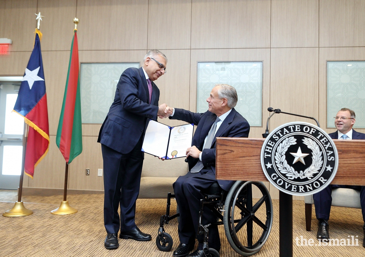 Governor Greg Abbott of Texas presented a signed proclamation recognizing the opening of the Ismaili Jamatkhana in Cedar Park to Dr. Barkat Fazal, President of the Ismaili Council for the United States.