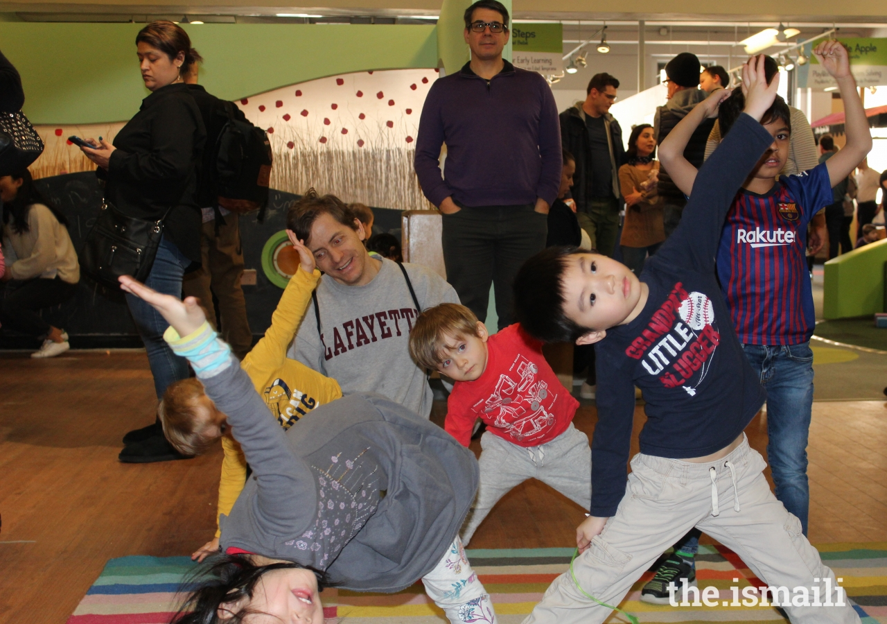 Children learned about Navroz through yoga poses that reflected nature.