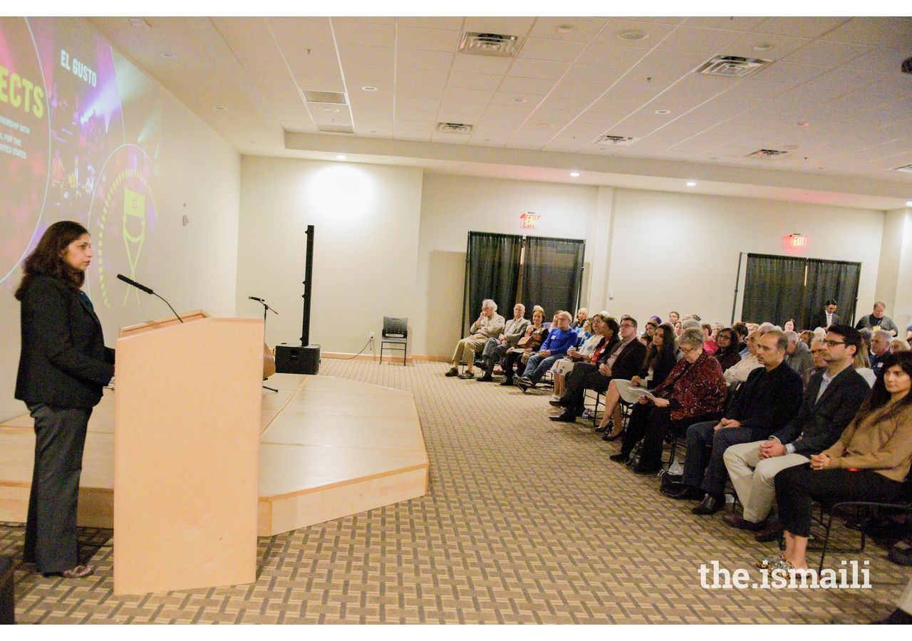 """President Salima Jaffer of the Ismaili Council for Southeastern United States addresses the audience before the viewing of """"El Gusto""""."""