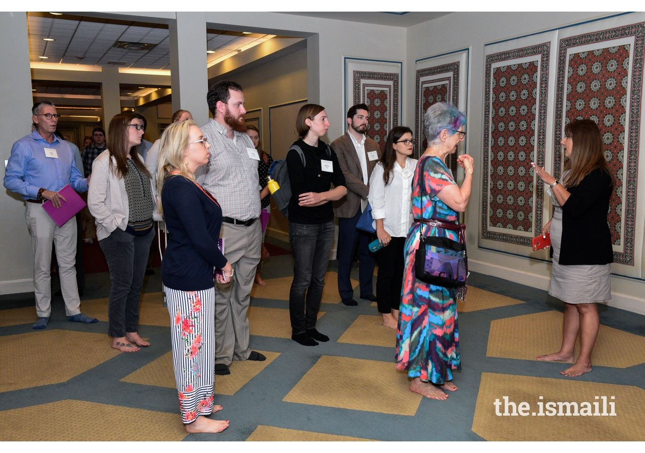 Educators and students receiving a tour of the Ismaili Jamatkhana in Decatur, Georgia, prior to the Lunch and Learn.