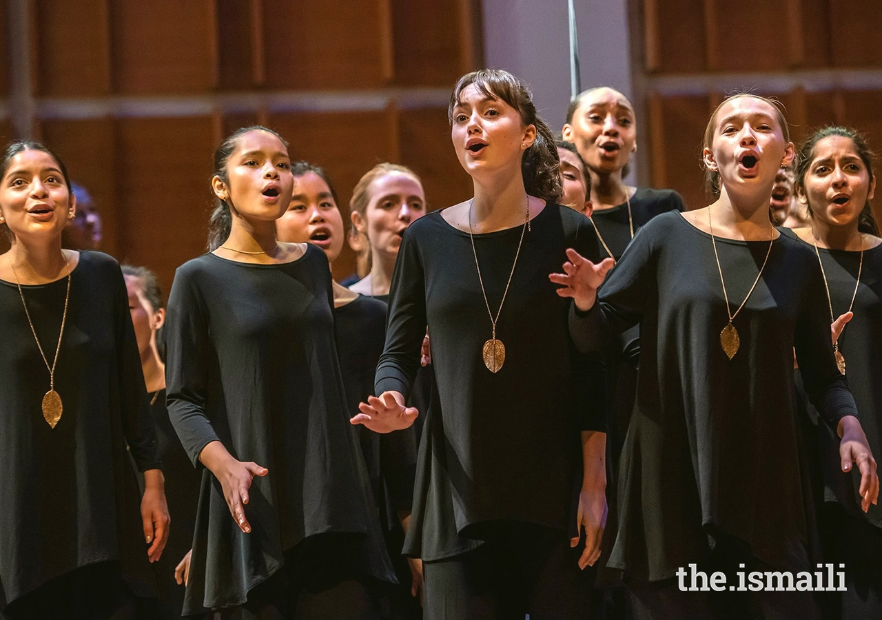 Rida Ali (far right) performs with the Young People's Chorus of New York City, at the Metropolitan Museum of Art's Holiday Concert, December 2018.