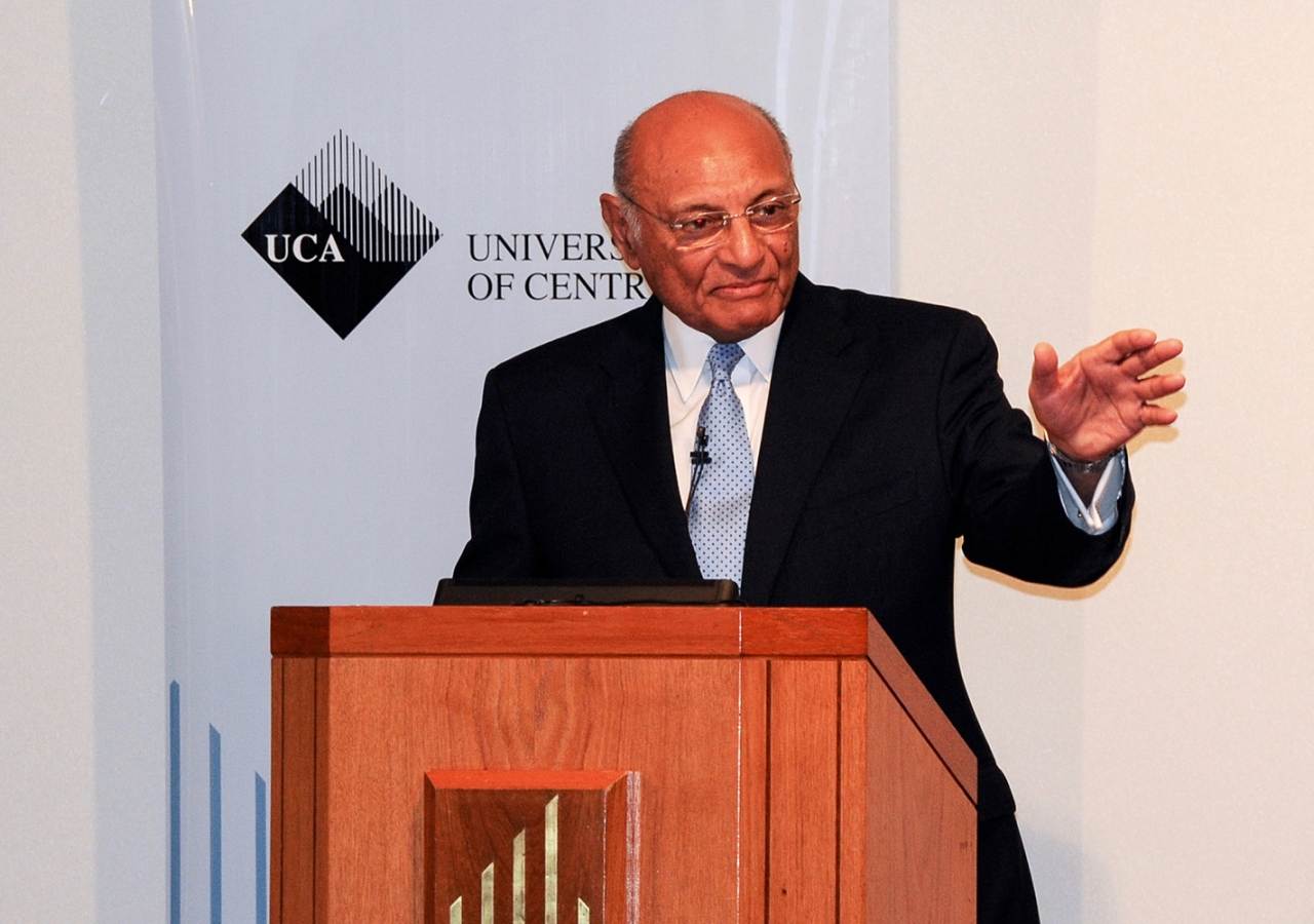 Shamsh Kassim-Lakha delivers a talk on how the University of Central Asia is creating opportunity in the region at the Ismaili Centre, London. Ismaili Council for the UK / Riaz Kassam