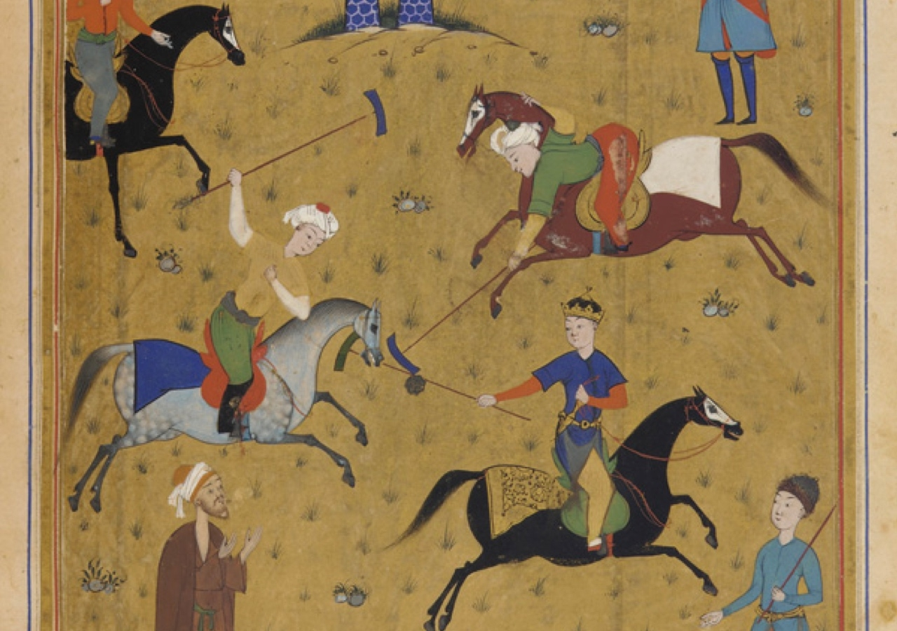 An illustration of a polo game from a manuscript of the poem Guy u Chawgan (the Ball and the Polo-mallet) dating from 1546, during the Safavid dynasty in Persia.