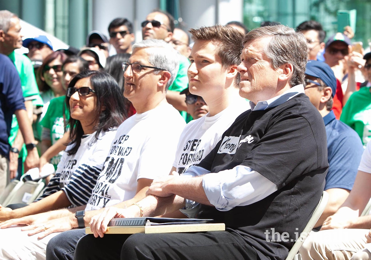 Ismaili Council for Canada Vice-President Karima Karmali, President Malik Z. Talib and Toronto Mayor John Tory observe opening ceremonies with Prince Aly Muhammad.