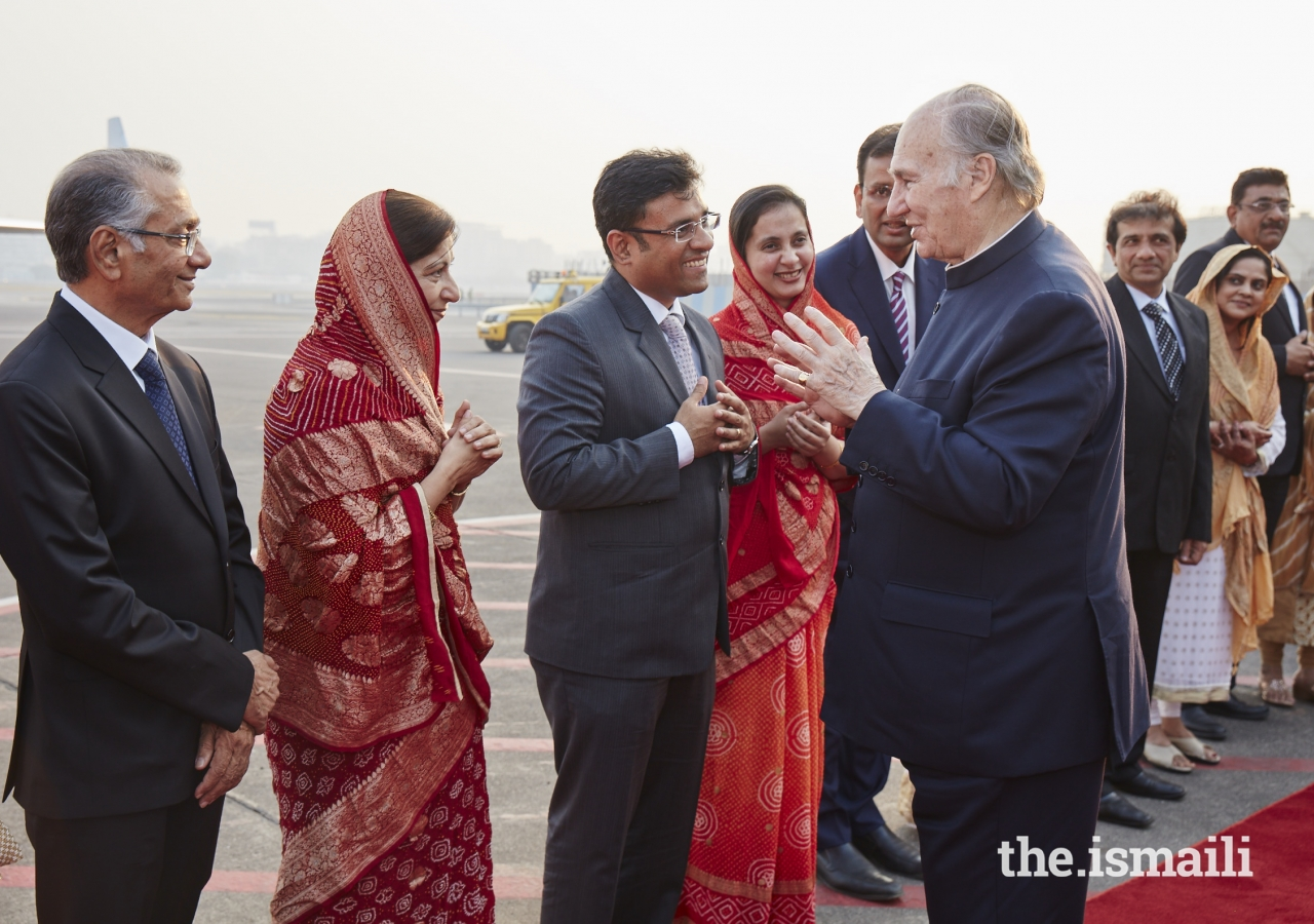 Mawlana Hazar Imam in conversation with Ismaili Council for India Vice-President Munir Merchant, before his departure from Mumbai, completing a 10-day Diamond Jubilee visit to India.