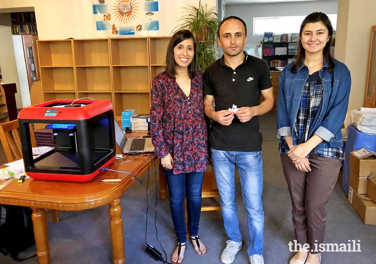 Left to right: Sarah Laiwala, Ghizol Khudonazarov, and Rukhmina Nagzibekova, of the Aga Khan Lycée's Makerspace team.