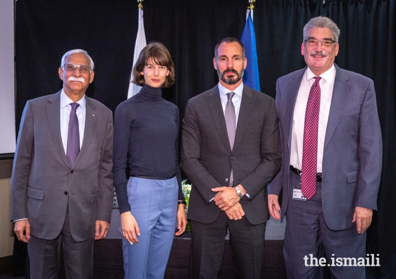 From L to R: AKU President Firoz Rasul, Princess Salwa and Prince Rahim, and President and Director of Fred Hutch Dr. Gary Gilliland during a campus visit and MOU signing ceremony at the Fred Hutchinson Cancer Research Center.