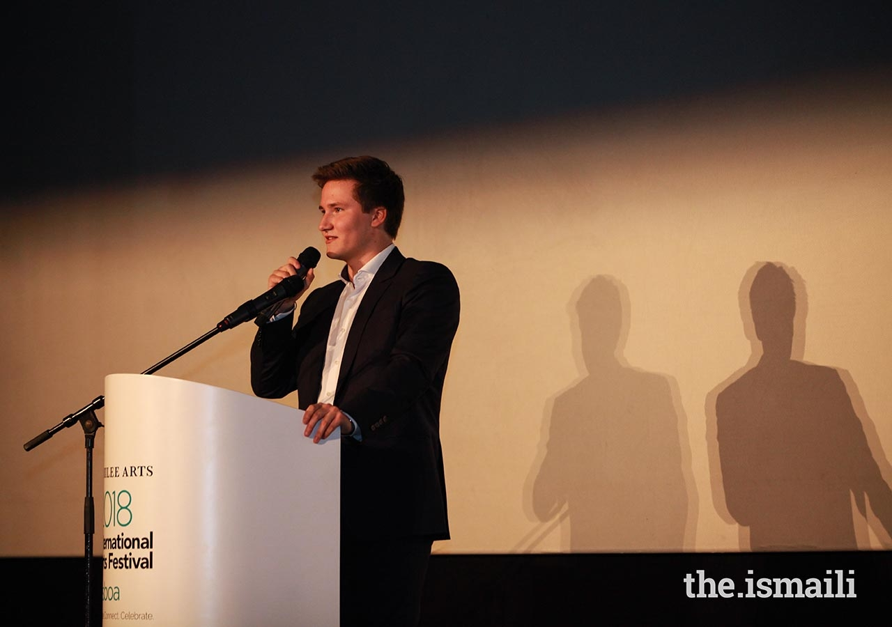 Prince Aly Muhammad introduced his film, Close to Home, at the International Film Festival.