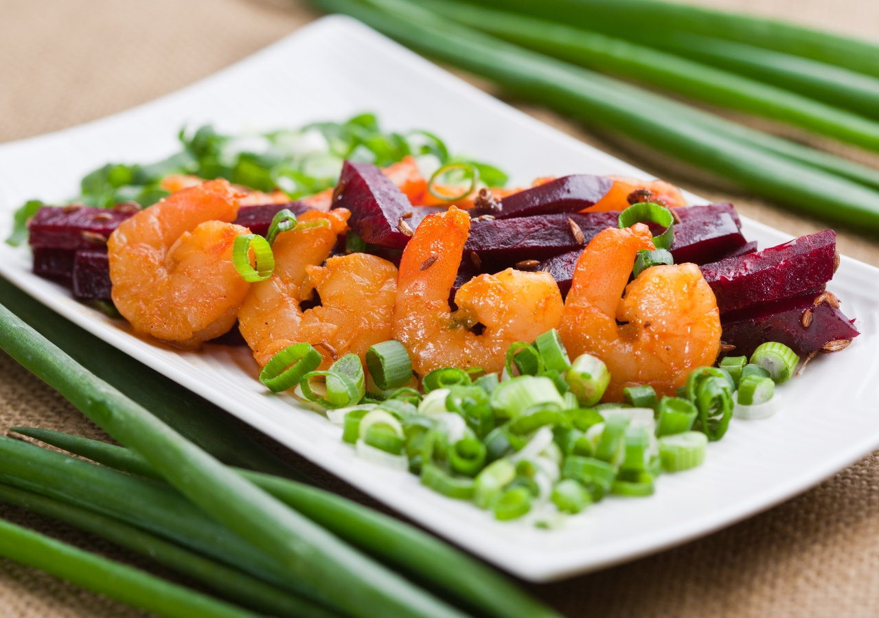 Garlic Shrimp with Sautéed Beetroot