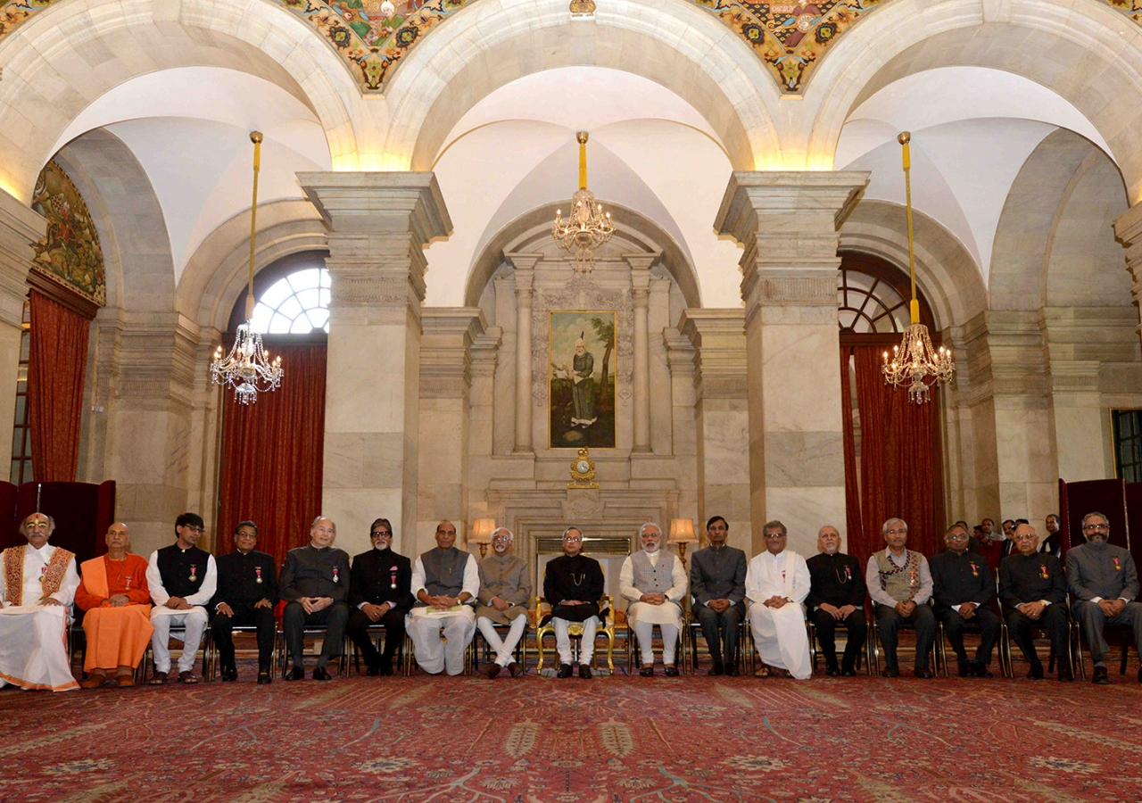 Mawlana Hazar Imam together with other Padma award recipients at the Rashtrapati Bhavan, the official residents of the President of India. Government of India
