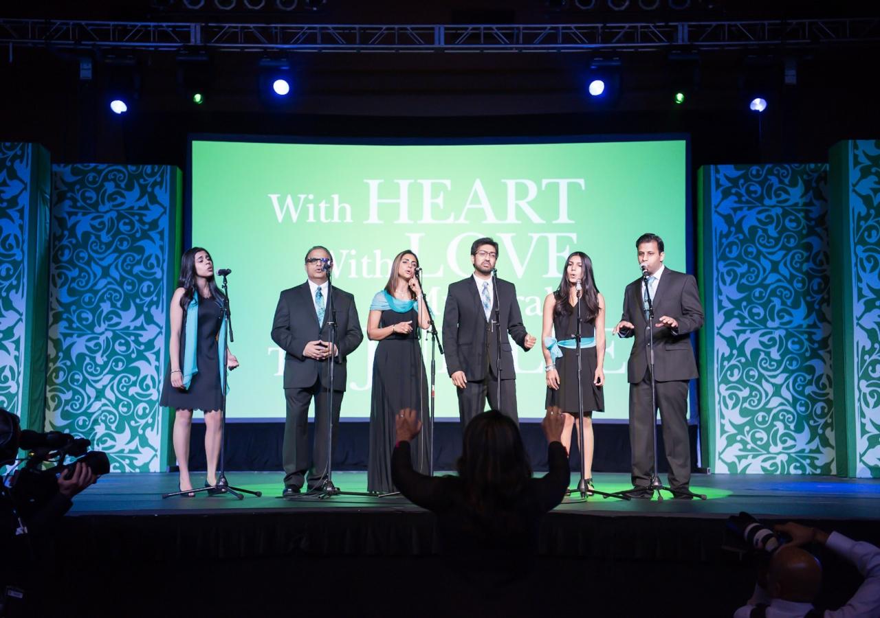 The Choir: (from left) Imaan Rajan, Shariff Suleman, Fahreen Ramjee, Ali Shah, Aiyla Ladha, and Nizar Qamar.