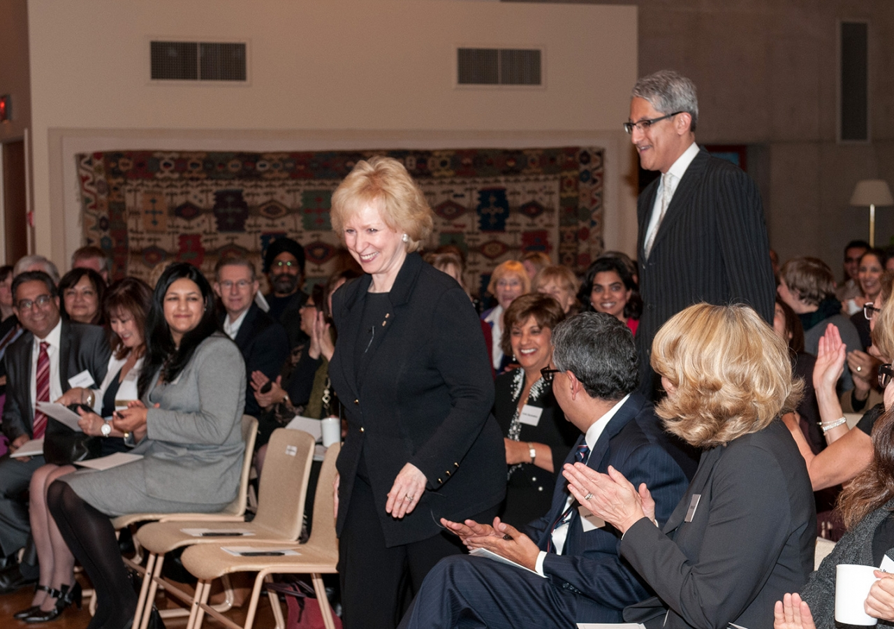 Ismaili Council President Malik Talib accompanies Kim Campbell into the Ismaili Centre social hall, where the former Prime Minister delivered her lecture. Sultan Baloo