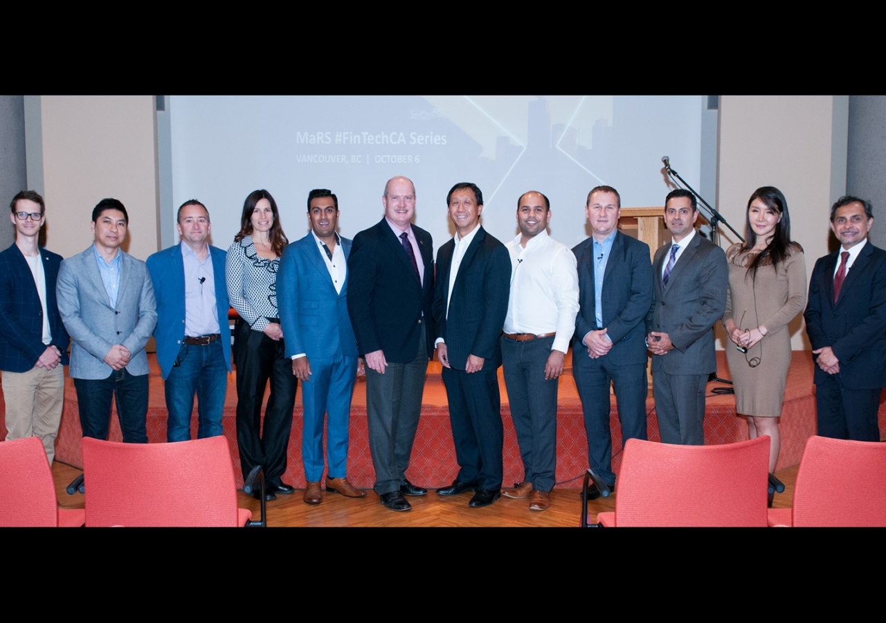 Minister Mike de Jong, MaRS FinTech Head Adam Nanjee with panelists and speakers at the MaRS FinTech event. Sultan Bhaloo