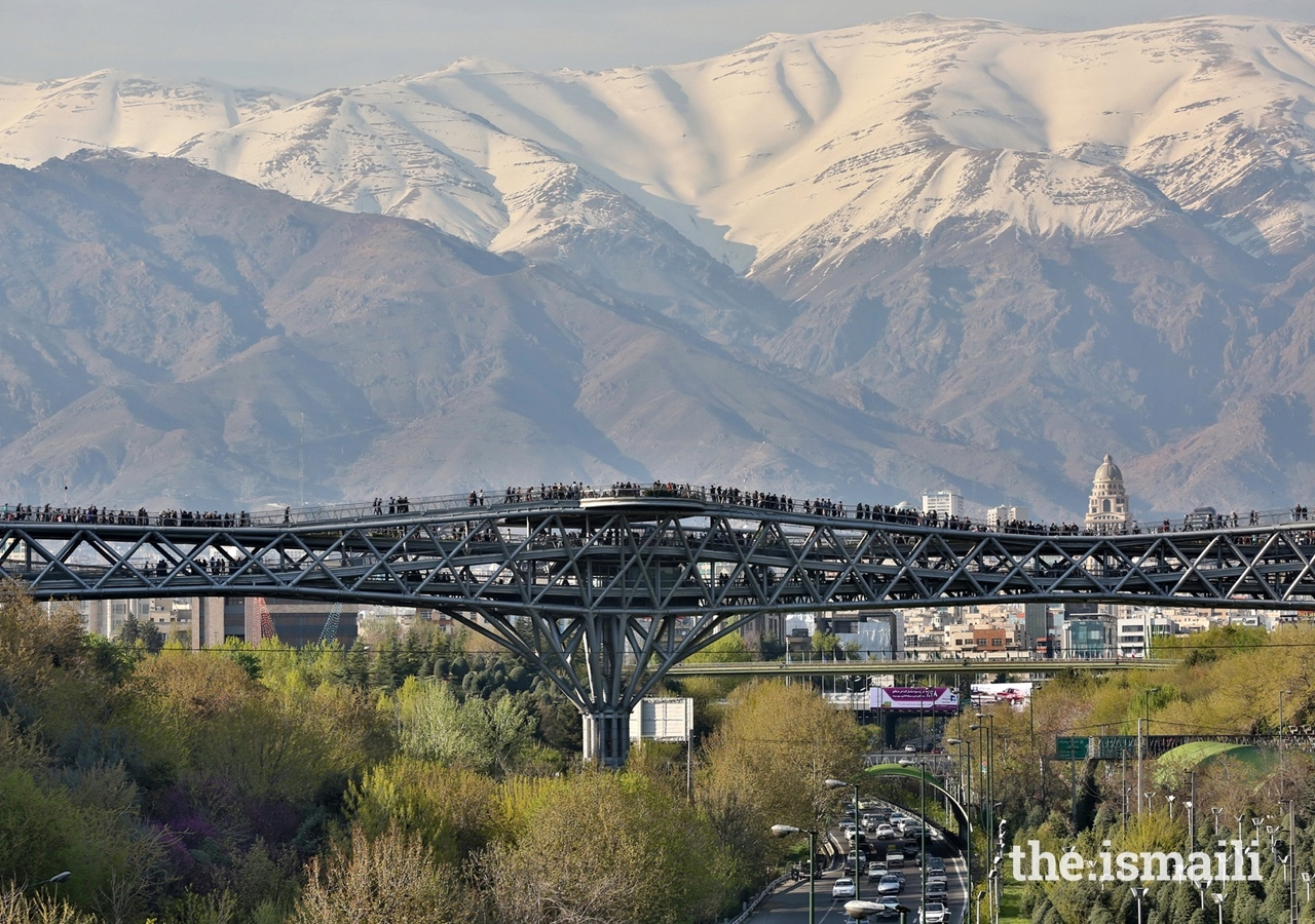 The Tabiat Pedestrian Bridge in Tehran was presented with an Aga Khan Award in 2016. The bridge includes multiple paths and inviting spaces, and connects two public parks on either side of a busy motorway.