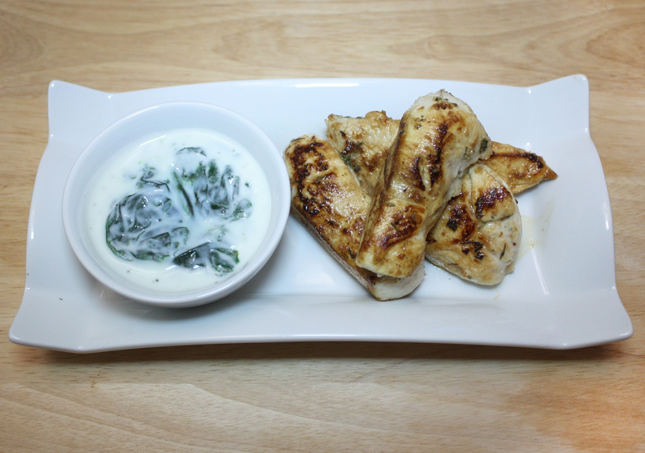 Tarragon Chicken with Spinach dip