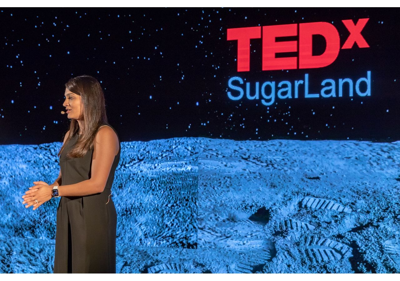 Rozina Mohammed Momin, Emcee, introducing the speakers at TEDxSugarLand.