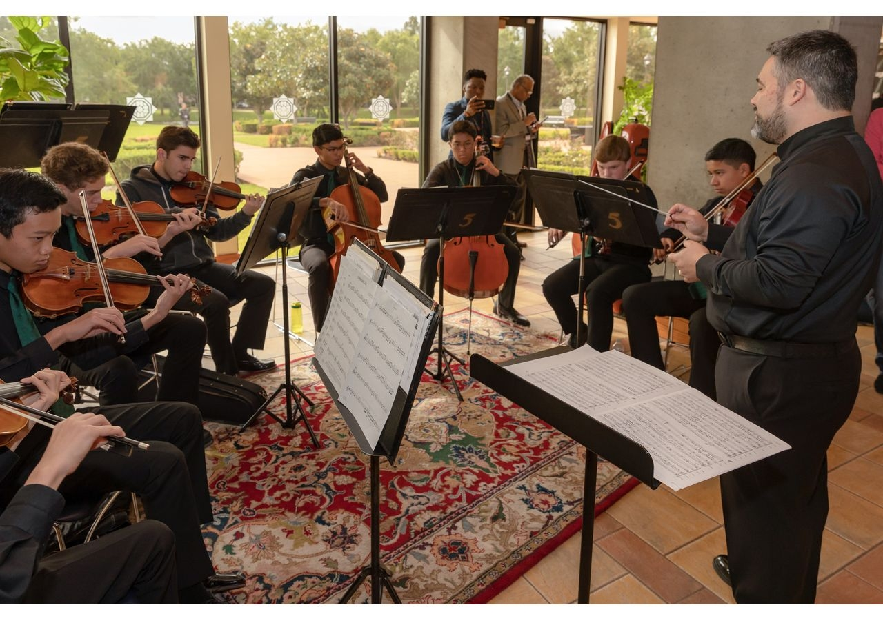 Musical display by the Strake Jesuit Orchestra at the TEDxSugarLand being held at Ismaili Jamatkhana and Center.