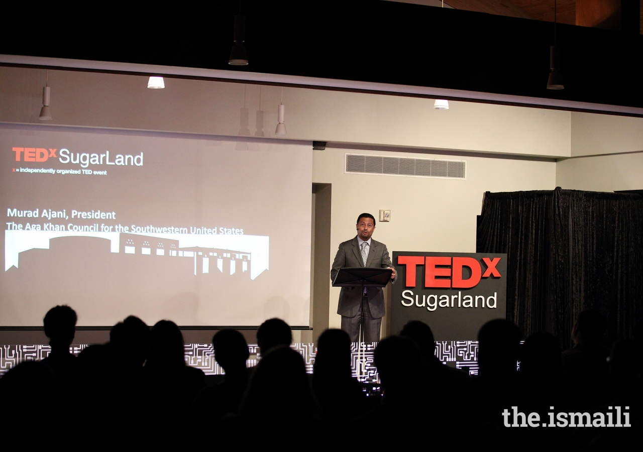 President Murad Ajani of the Council for the Southwestern United States speaking at the Tedx Sugar Land event.
