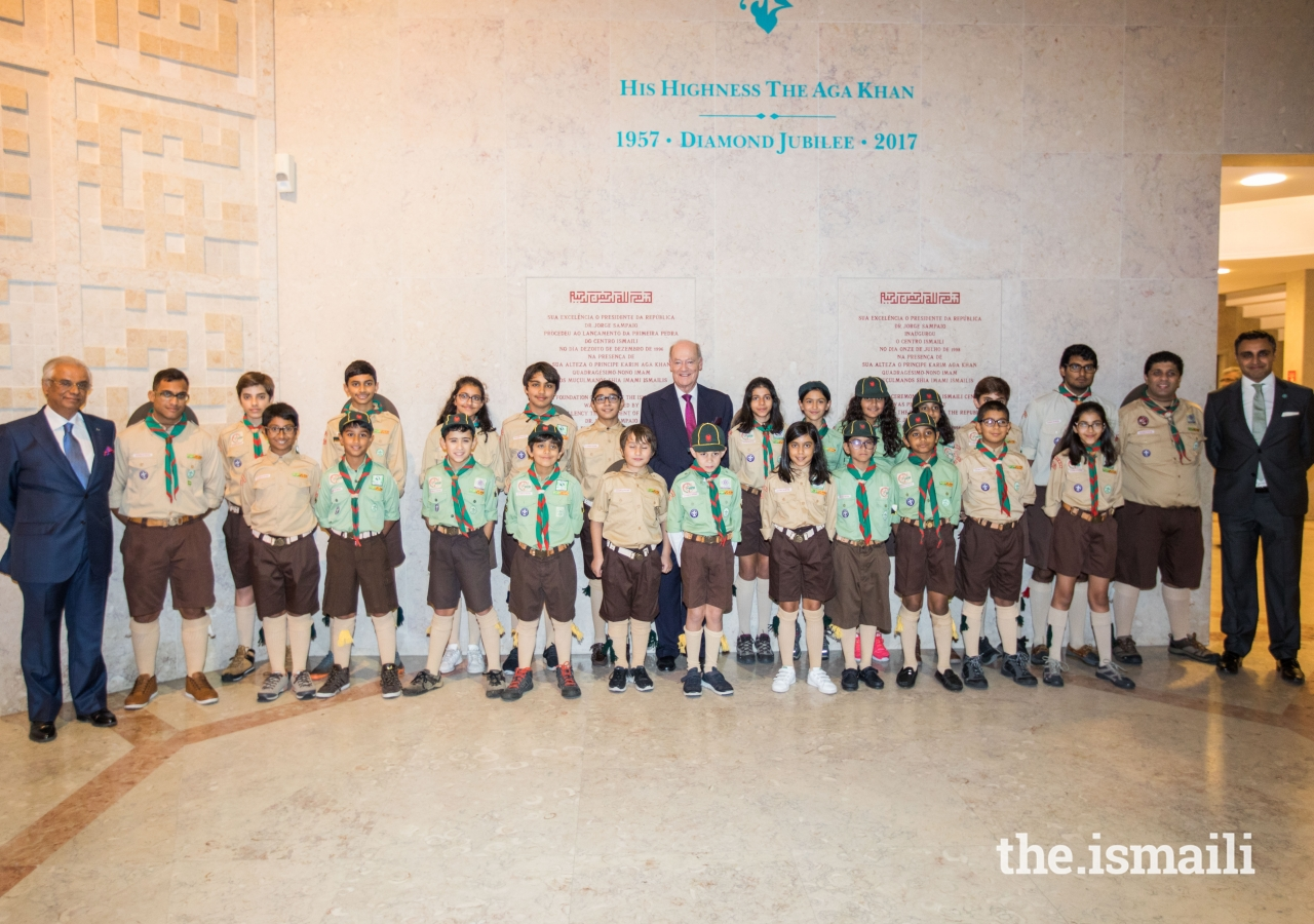 Prince Amyn, Nazim Ahmad and President Rahim Firozali at the Ismaili Centre Lisbon with the Ismaili Scouts Group