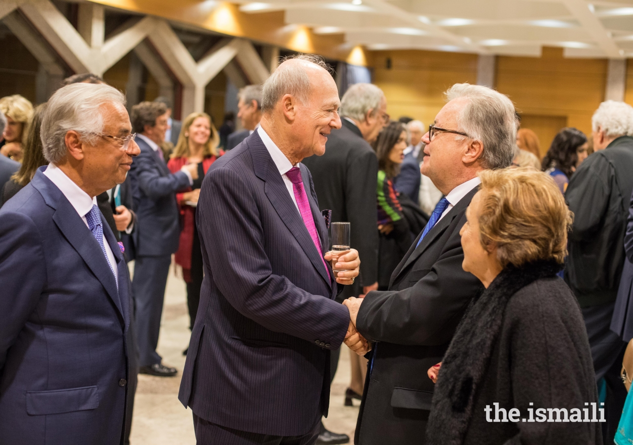 His Excellency Luís Filipe de Castro Mendes, Portugal's Minister of Culture greets Prince Amyn at the Reception in Lisbon