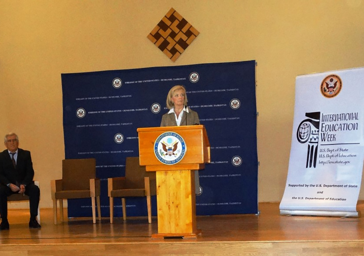 US Ambassador to Tajikistan Elizabeth Millard addresses participants at the Educational Fair held at the Ismaili Centre Dushanbe in November 2016. Rukhshona Broimshoeva