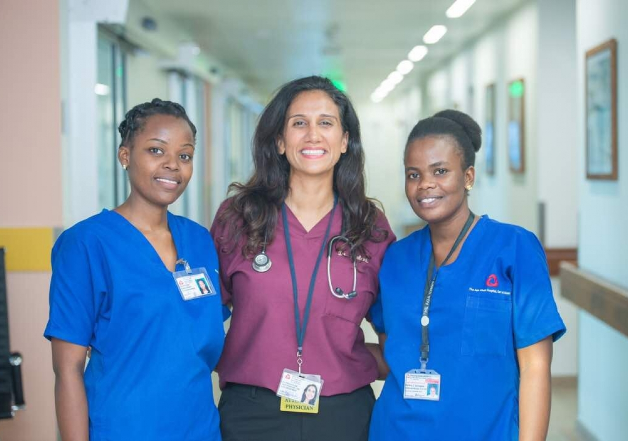 Dr. Lalani, who is passionate about the importance of teamwork, pictured with team members at the Aga Khan Hospital in Dar es Salaam.