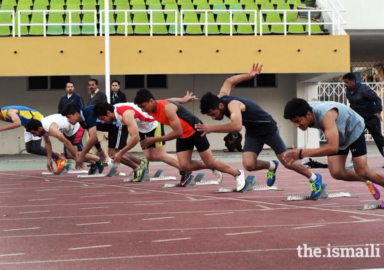 A sprint event on the athletics track at the DJSF National Games