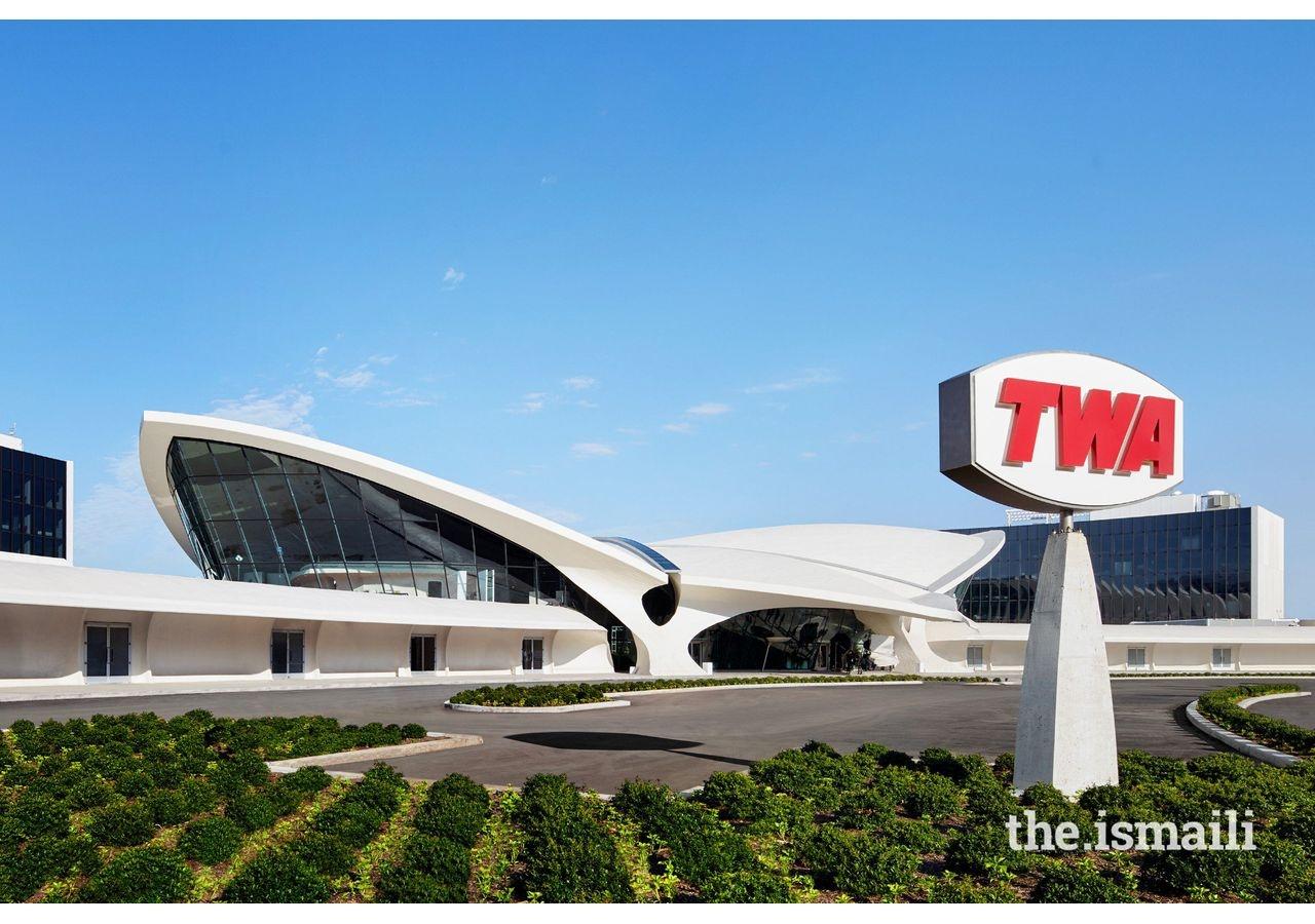The former TWA Flight Center at JFK airport, New York City, now the TWA Hotel, a historic landmark.