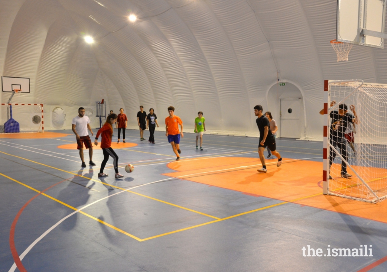 "A sports ""Bubble"" provides year round sports at UCA's Khorog Campus."