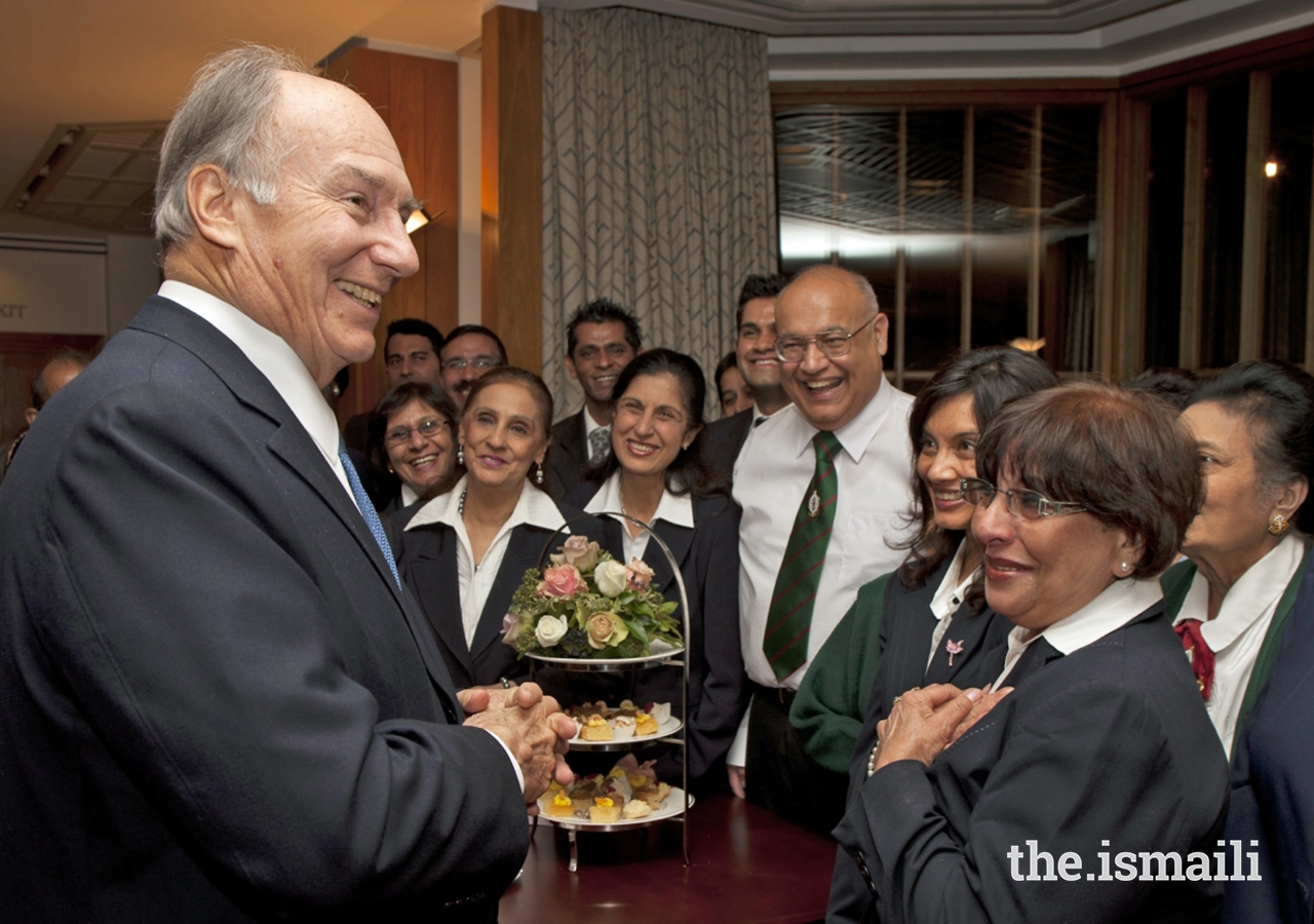 Mawlana Hazar Imam meets with volunteers on the occasion of the 25th anniversary of the Ismaili Centre London.