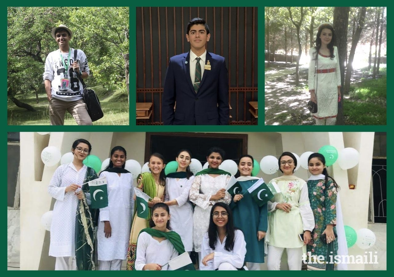 Top (left to right): Ali Alhaj, Ari Surani, Anisa Zulfova. Bottom: Arisha Wadani (front right) with her Guides group in Pakistan.
