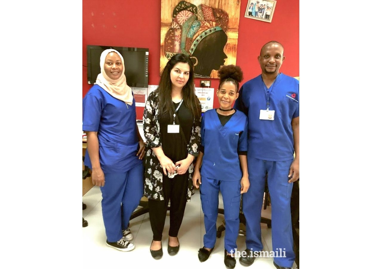 Zahra Lalani, RN, with AKHS Oncology staff, Dar es Salaam.
