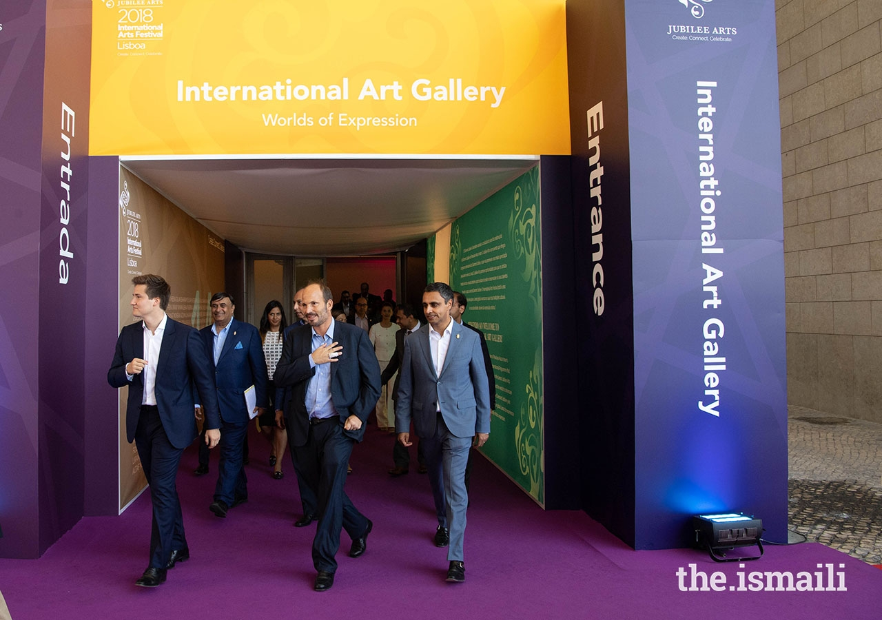 Prince Hussain and Prince Aly Muhammad toured the International Art Gallery, as part of the International Arts Festival held in Lisbon.