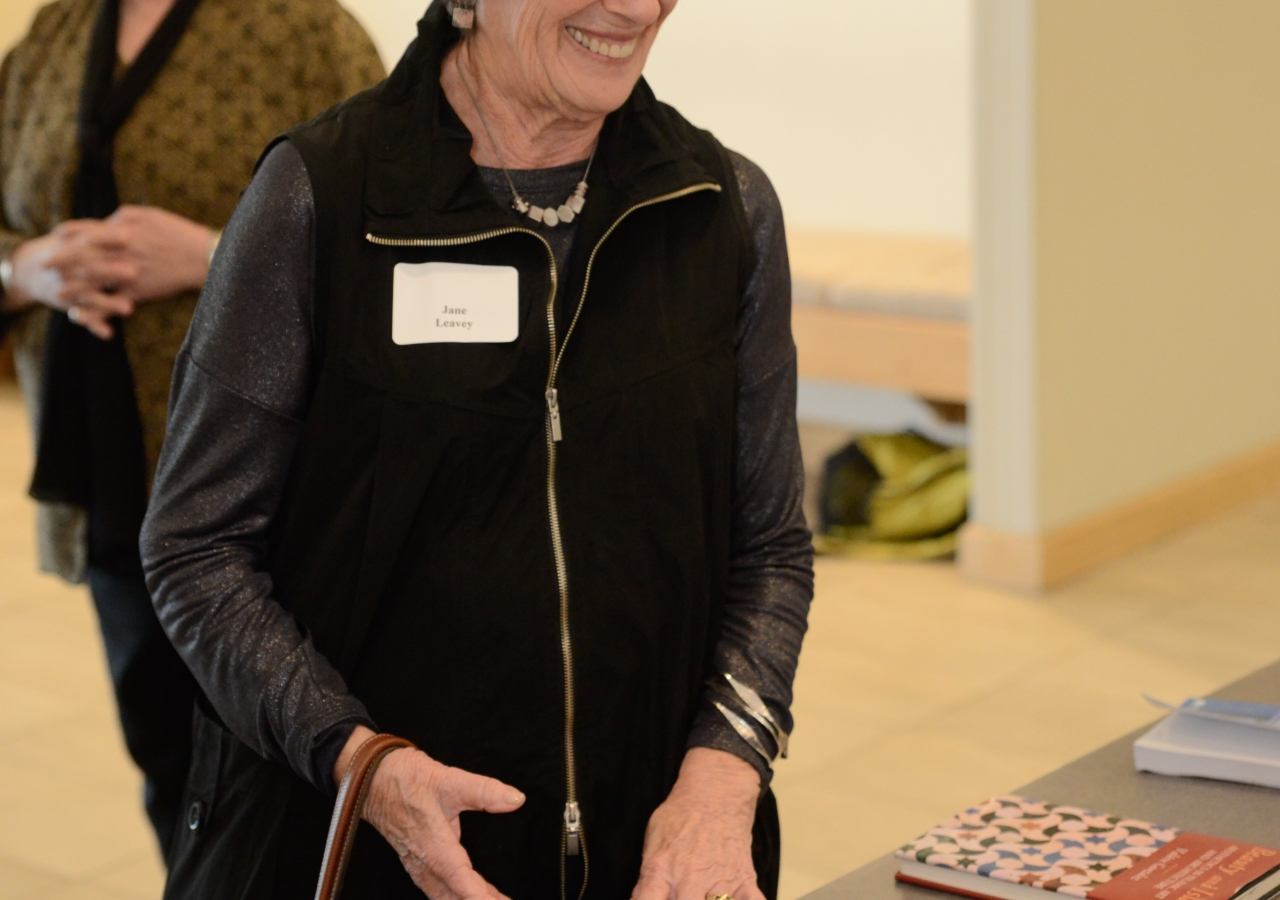 Jane Leavey enjoys the various books available at the Ismaili Jamatkhana library.