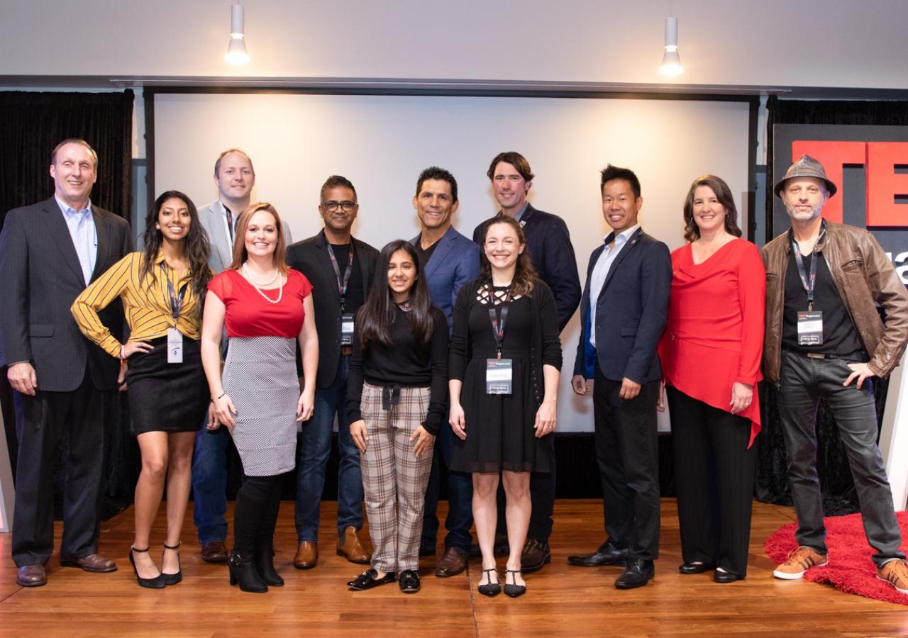 Speakers of TEDx SugarLand 2018:  (First row, from left): Zoe Lalji, Larayne Glidewell, Maya Tharoo, and Alexa Johnson: (Second row,  from left) Jeff McManus, Kevin Doffing, Aijaz (AJ) Rizvi, Frank Shamrock, Jesse Stewart, Christopher Kai, Leslie Marchand, and Sebastien Boileau.