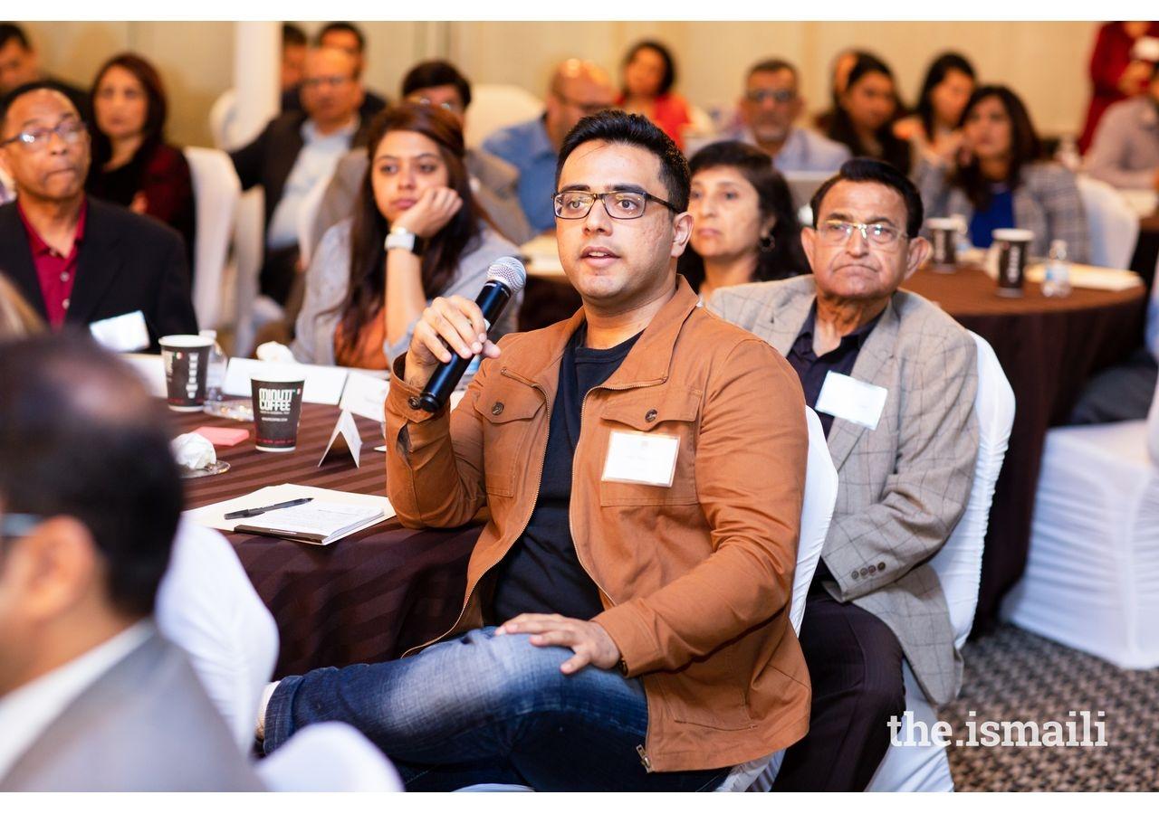 Sahil Badruddin posing a query to the moderator.