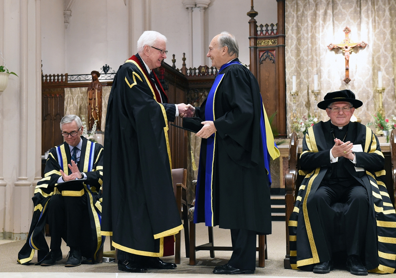Richard Alway, Praeses of the Pontifical Institute of Mediaeval Studies congratulates Mawlana Hazar Imam upon the conferring the honorary degree. Zahur Ramji