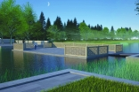 A rendering of the mahtabi (terrace) looking out over the Calla Pond and surrounding bustan (orchard) at the newly revealed Aga Khan Garden, Alberta.