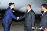 Prince Aly Muhammad is greeted by Hafiz Sherali, President of the Ismaili Council for Pakistan, at Islamabad Airport.
