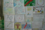 Artwork by Syrian Ismaili children aged 8 – 12, presented at <em>Golden Vision with Golden Hands</em>, an exhibition of illustrations.